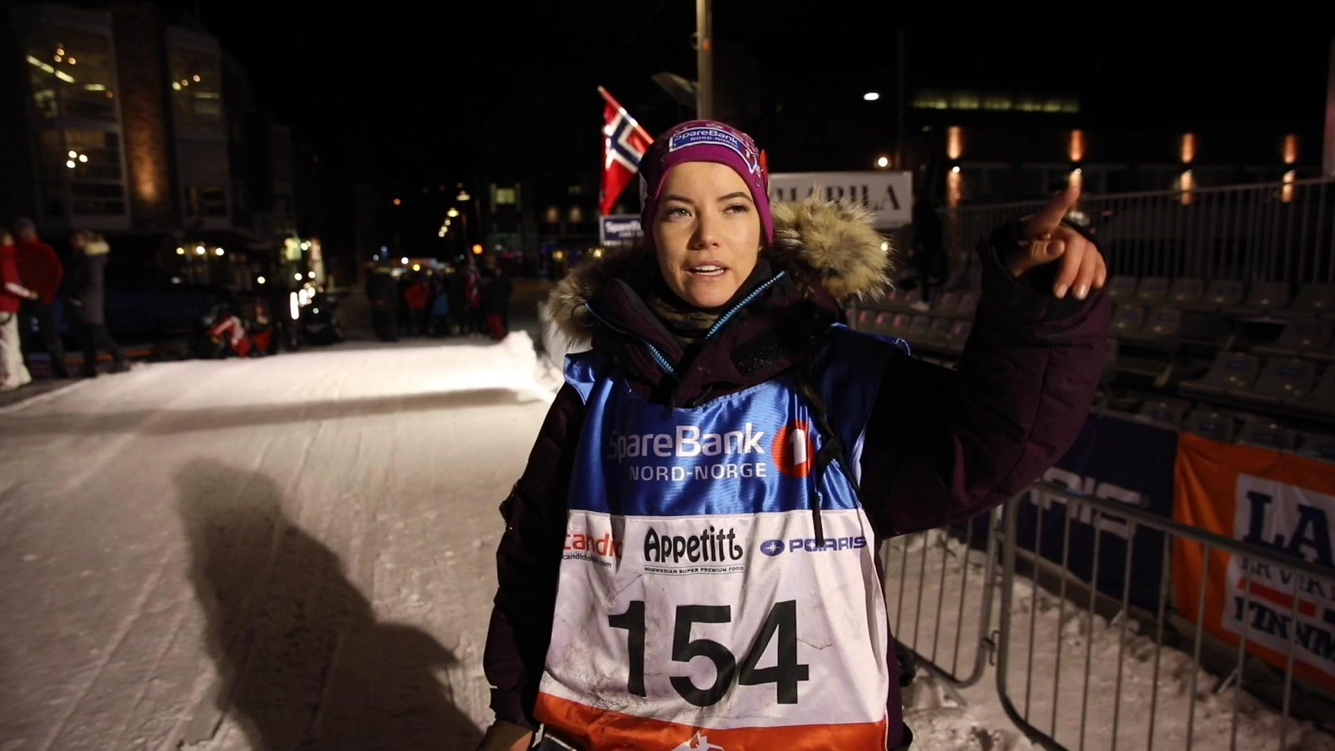 Silje Máret Somby i mål Finnmarksløpet 2019
